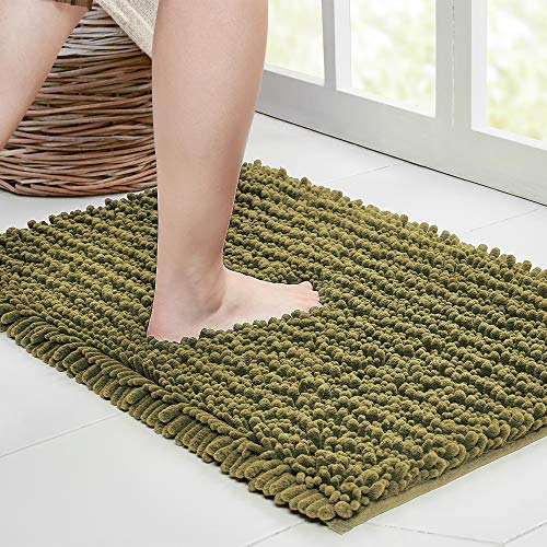 Walensee Bathroom Rug Non Slip Bath Mat (24x17 Inch Olive Green) Water Absorbent Super Soft Shaggy Chenille Machine Washable Dry Extra Thick Perfect Absorbant Best Small Plush Carpet for Shower Floor