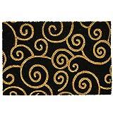 ASAB Swirls-Felpudo Puerta de Bienvenida, Antideslizante, Absorbente, Coco, Diseño de espirales, Estándar
