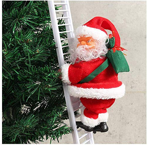 Vicall Climbing Ladder Santa Christmas Electric Climbing Santa Claus Xmas Figurine Ornament Climbing with Music Hanging Decor Party Decoration Gifts