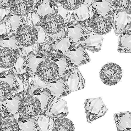Powerking Diamante acrílico, Cofre del Tesoro Pirata de Joyas y Gemas acrílicas Blancas Grandes, Piedras Preciosas de Hielo Bling para Relleno de florero, decoración del hogar, Favor de Fiesta 40 PCS