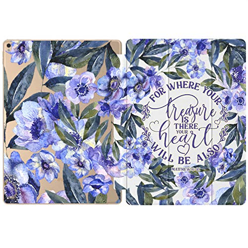 Mertak Case Compatible with iPad Pro 11 2020 12.9 inch Air 3 2 10.2 8th 7th 2018 10.5 9.7 Mini 5 4 Matthew 6:21 Flowers Print Christian Clear Design Bible Verse Smart Cover Blue Auto Wake Sleep Quote
