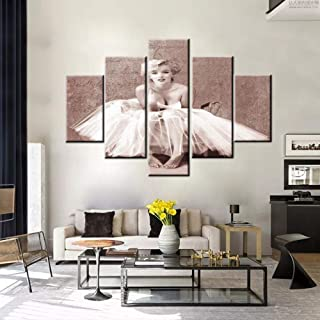 House Decorations Living Room Marilyn Monroe Artwork Vintage Person Portrait Paintings 5 Piece HD Prints Brown Wall Art on Canvas Modern Room Decor Giclee Framed Stretched Ready to Hang(60''Wx40''H)