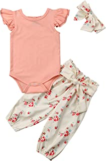 3PCS Infant Toddler Baby Girl Clothes Ruffle Romper...