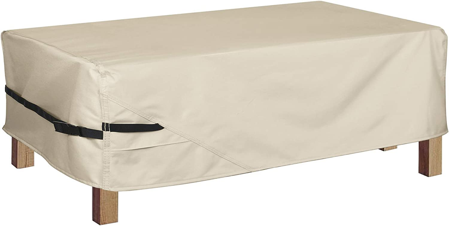 Porch Shield Patio Coffee Table Cover - Waterproof Outdoor Furniture Rectangular Small Table Covers 46 x 26 inch, Beige