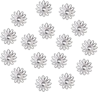 MagiDeal 100 Pieces Metal Hollow Flower Bead Caps Connectors 16mm Silver