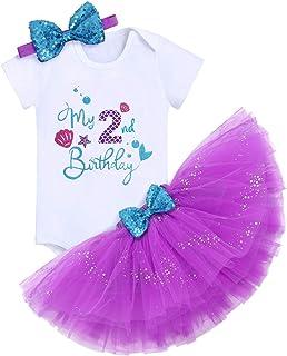 FYMNSI Baby Mädchen 1/2. / 1. / 2. / 3. Geburtstag Outfit Meerjungfrau Prinzessin Kostüm Baumwolle Kurzarm Strampler/T-Shirt  Tütü Rock  Stirnband 3tlg Bekleidungsset