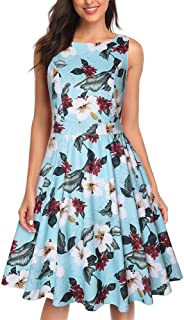 YYLZA Women Dress Summer Round Collar Sleeveless Floral Print A Line Dress Female High Waist Party Dresses