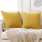 Deconovo Funda para cojin Almohada Decorativa Prodector del Sofa Silla 2 Piezas 65x65cm Mostaza