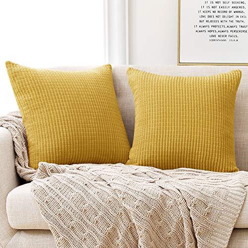 Deconovo Kissenbezug Kordsamt Zierkissenbezug Dekorativen Kissenhüllen Weiches Massiv Kissen für Sofa Couch Schlafzimmer Senfgelb 50x50 cm 2er Set