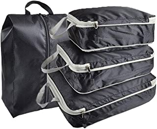 Travel Storage Bags Waterproof Luggage Organizer Pouch Packing Cube Clothing Sorting Packages Pack of 4pcs Black