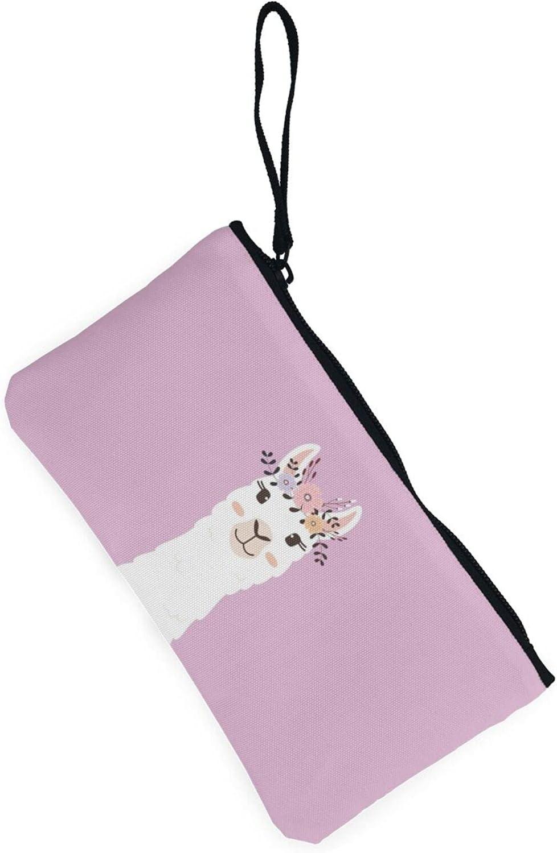 AORRUAM Cute Llama Canvas Coin Purse,Canvas Zipper Pencil Cases,Canvas Change Purse Pouch Mini Wallet Coin Bag