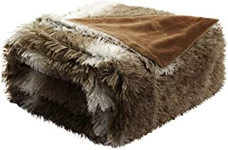 uxcell Faux Fur Twin Size Blanket 60 inches x 78 inches - Decorative White Striped Shaggy Long Fur Blankets,Lightweight Fuzzy Plush Microfiber Blanket for Bed,Couch,Sofa - Keep Warmth for Years,Brown
