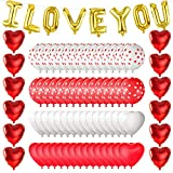 MIAHART I Love You Balloons Valentine Balloons Kit 12 Red Heart Foil Helium Balloons 60 Heart Print Latex Balloons with 5 Ribbon for Valentines Day Romantic Wedding Decorations Supplies (78 Pack)