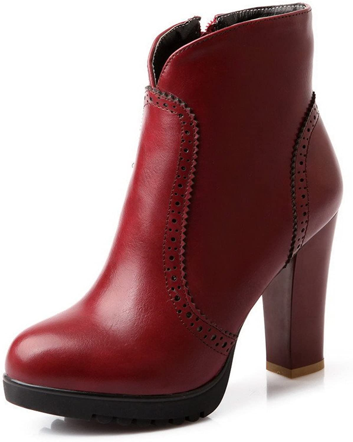 WeenFashion Womens Round Toe High Heels Soft Material Solid Boot with Platform, Red, 7 B(M) US