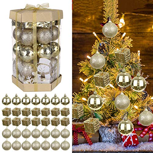 SALE & CLEARANCE 35PCS Christmas Ball Ornaments, Xmas Christmas Tree Hanging Balls Decorations, Perfect Hanging Ball Gift for Holiday Wedding Party (Gold)