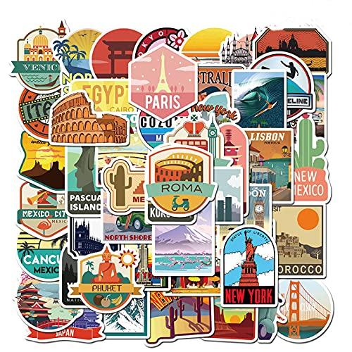 Travel City Landmark London Paris New York Equipaje Laptop Pegatinas Impermeables 50 Piezas