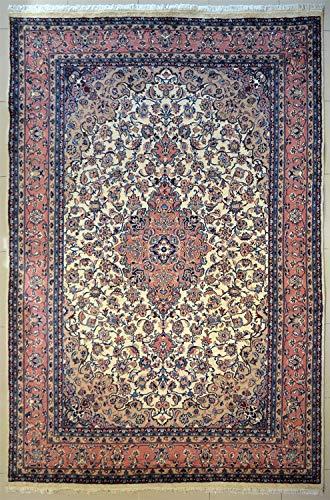 etnico Handgefertigter Kashan-Teppich, orientalischer Stil, 269 x 383 cm, elfenbeinfarben, symmetrisches Design
