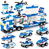 City Police Station & Mobile Command Center Truck Building Toy with Police Car, Police Helicopter, Patrol Boat, Best Education Learning & Roleplay Toys Gift for Boys and Girls Age 6-12 (1338 Pieces)