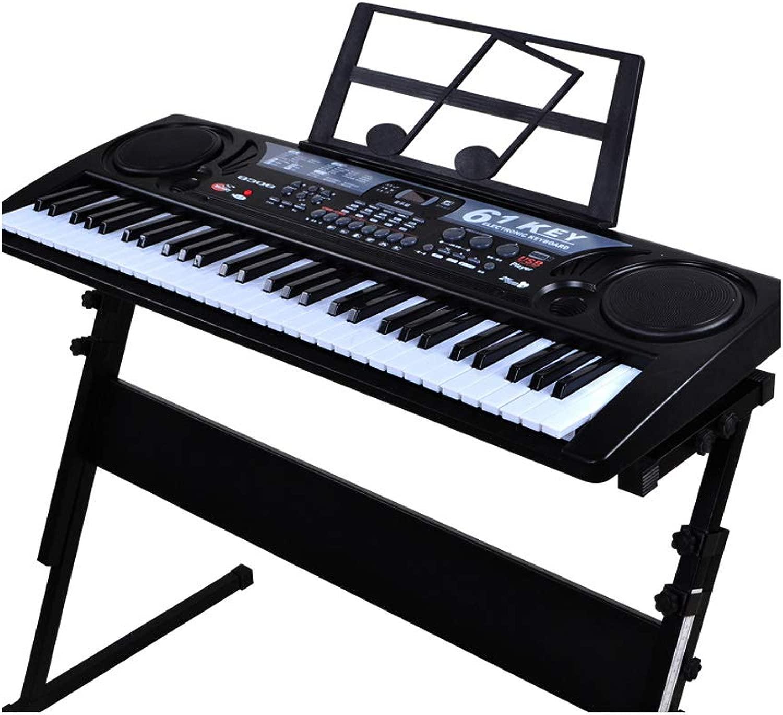 TLMYDD Tastiera Giocattolo per Microfono con Tastiera per Bambini 61 Tasti Tastiera USB per Ragazzo e Ragazza Piano per Bambini (Coloree   nero)