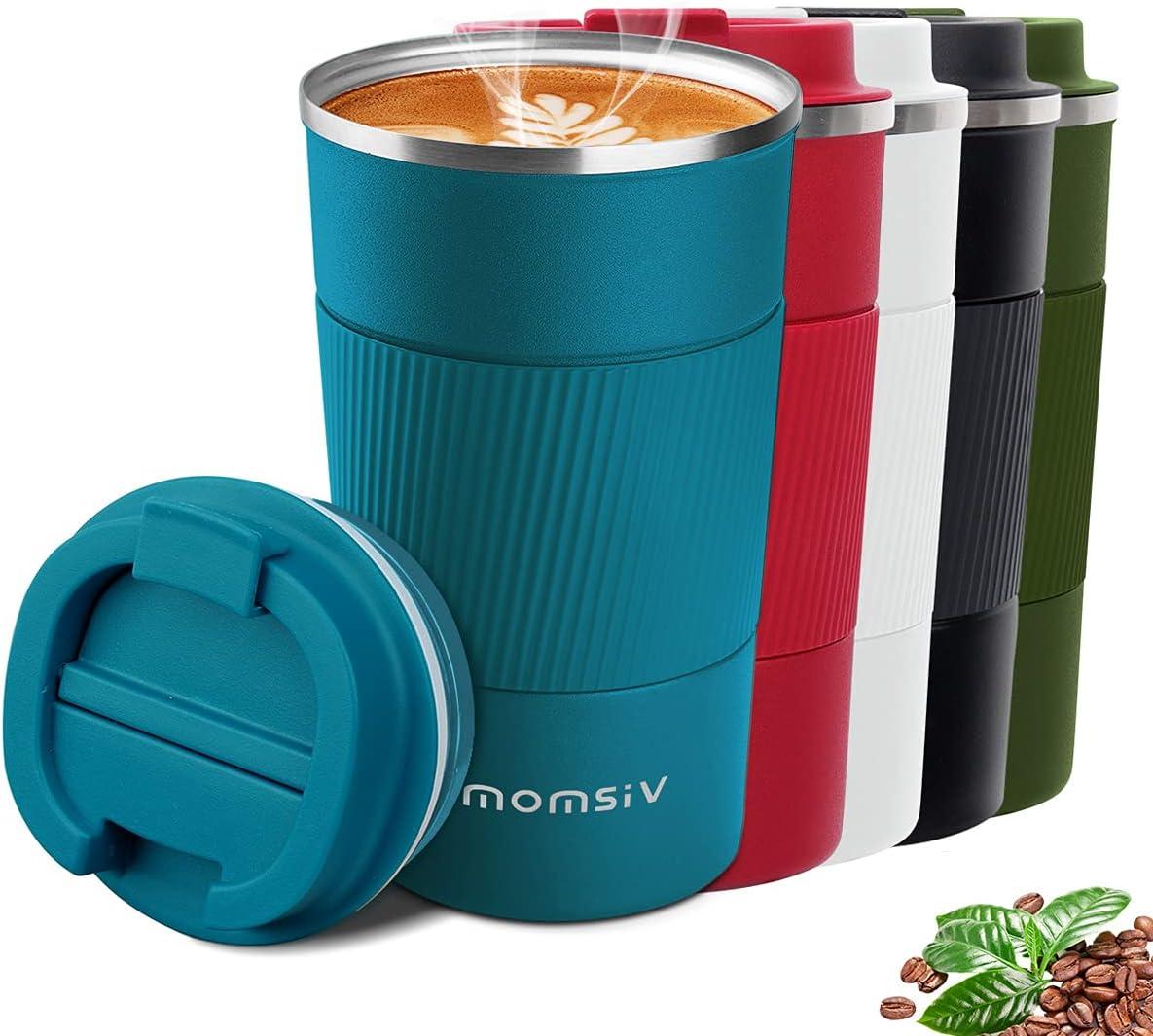 MOMSIV Taza de café, Termo Cafe 510ml, Taza Termo Cafe para Llevar de Acero Inoxidable, Tazas dTazas de Viaje aisladas con Tapa a Prueba de Fugas, Tazas de café Reutilizables, Taza de café para Coche