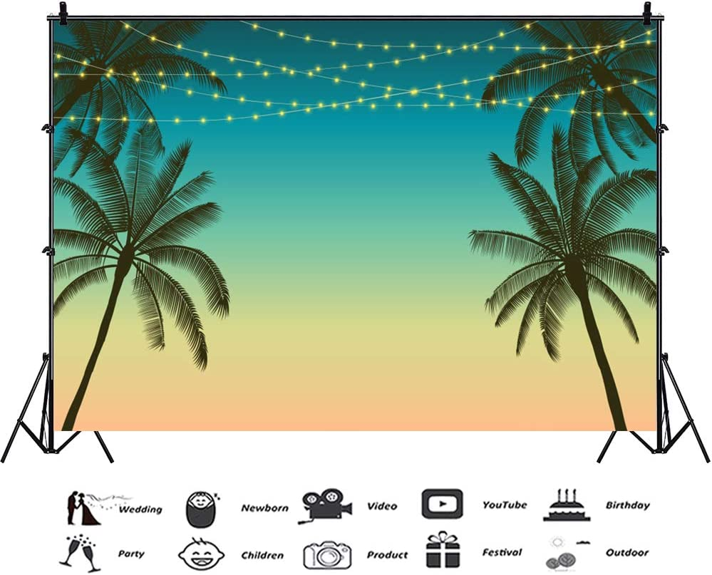 CSFOTO 8x6.5ft Tropical Backdrop Summer Party Background for Photography Birthday Party Night Summer Carnival Party Decor Tropical Theme Party Decor Palm Tree Coconut Tree Kids Adults Portraits