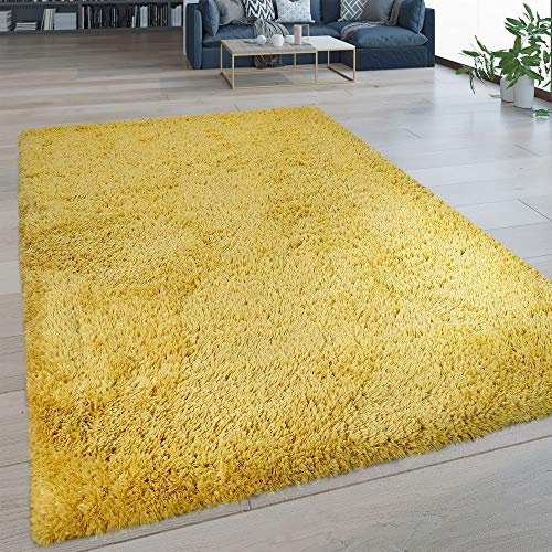 Paco Home Hochflor Wohnzimmer Teppich Waschbar Shaggy Flokati Optik Einfarbig In Gelb, Grösse:80x150 cm