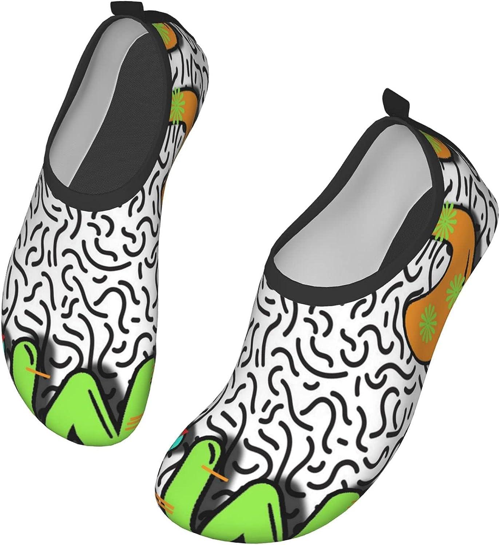 Yaiyilin 80s90s Summer Water Shoes Mens Womens Aqua Socks Non-Slip Barefoot Swim Beach Shoes for Pool Yoga Surfs Exercise
