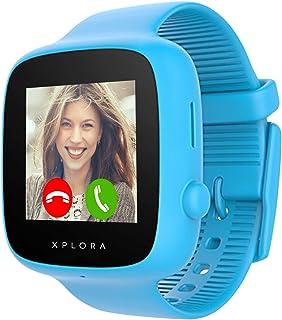 XPLORA GO - Teléfono reloj para niños (SIM no incluida) - Llamadas mensajes modo colegio botón SOS localizador GPS cámara y podómetro - Incluye 2 años de garantía (AZUL)