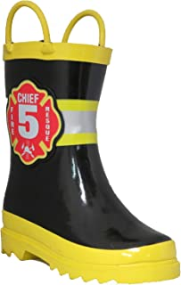 Puddle Play Toddler and Kids Waterproof Black Fire Chief Rubber Rain Boots Easy-On Handles