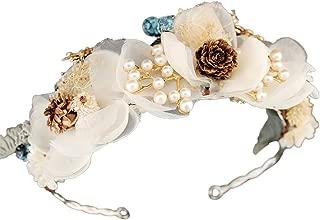 YAZILIND Boda Nupcial Hilados de Seda Corona de Flores Tocado con Mariposa Cono de Pino decoración Floral Corona Diadema Garland