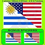 USA Vereinigte Staaten von Amerika und URUGUAY, Amerikanisch und Uruguayische Flagge, Fahne 100mm Auto & Motorrad Aufkleber, Vinyl Sticker x1+2 BONUS