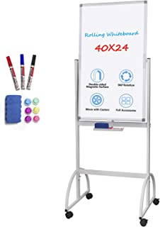 Mobile White Board Magnetic, Rolling Whiteboard 40 x 24 inch Double Sided Dry Erase Board on Wheels with Markers, Magnets, Eraser and Tray for School, Home, Office