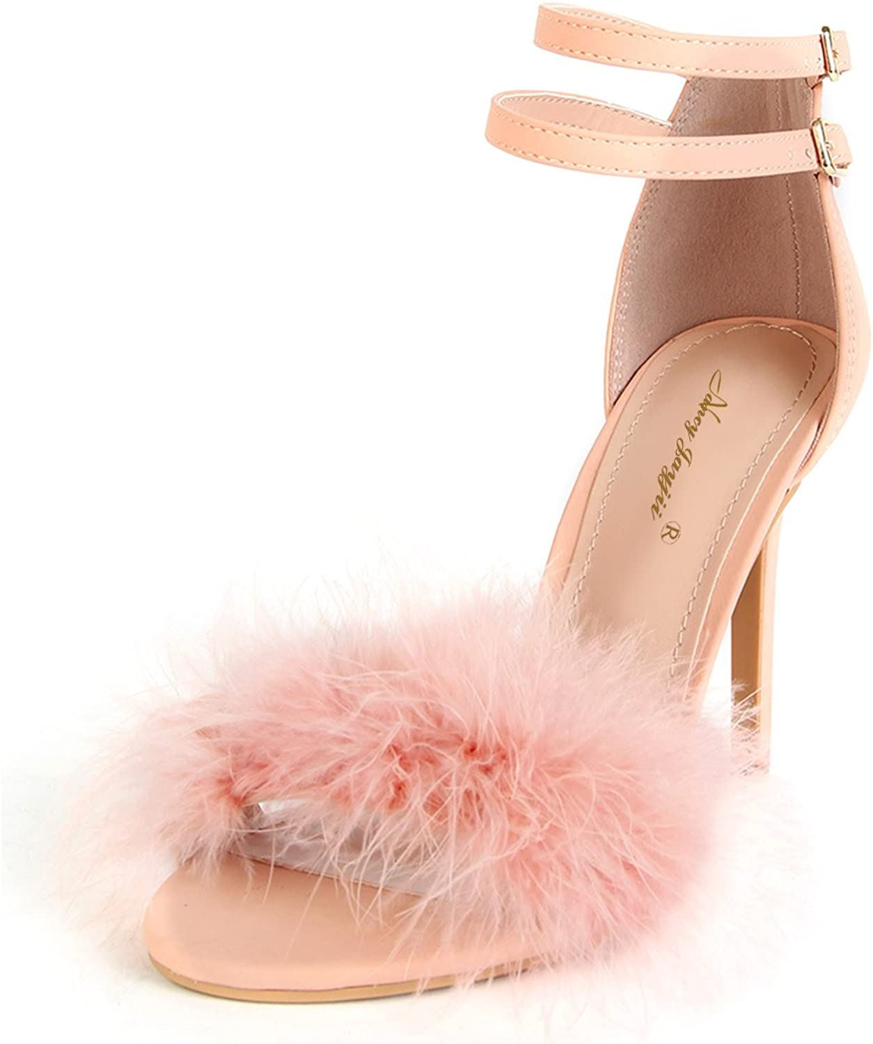 NJ Women Charming High Heels Sandals Open Toe Stiletto Pumps Fluffy Faux Fur Bridal shoes