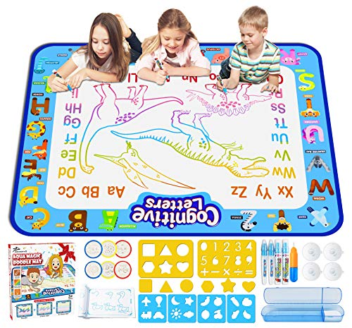 Jasonwell Aqua Magic Doodle Mat 40 X 32 Inches Extra Large Water Drawing Doodling Mat Coloring Mat Educational Toys Gifts for Kids Toddlers Boys Girls...