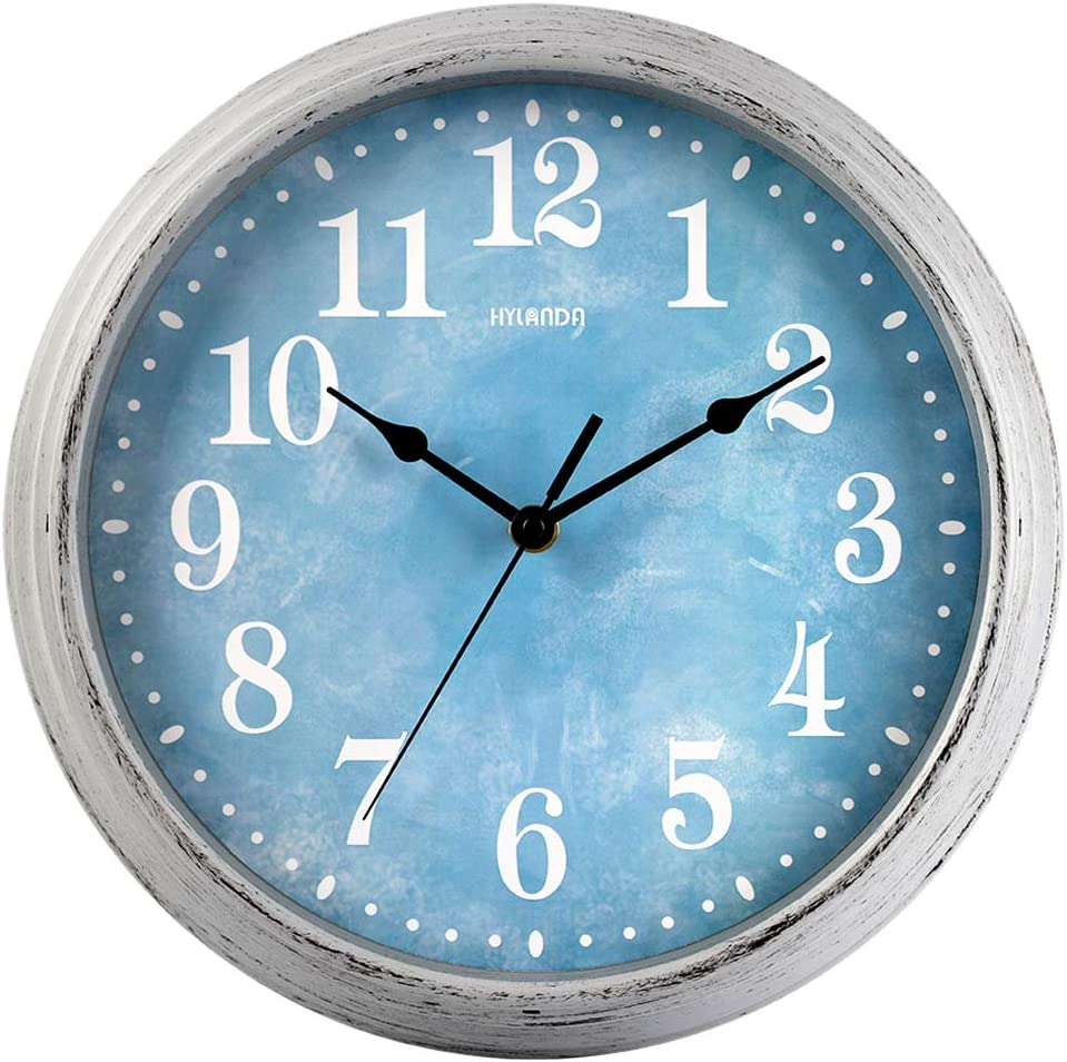 HYLANDA Wall Clock, 12 Inch Retro Silent Non Ticking Clock, Vintage Round Wall Clocks Battery Operated, Decorative for Kitchen Living Room Home School Office(Ocean Blue): Kitchen & Dining