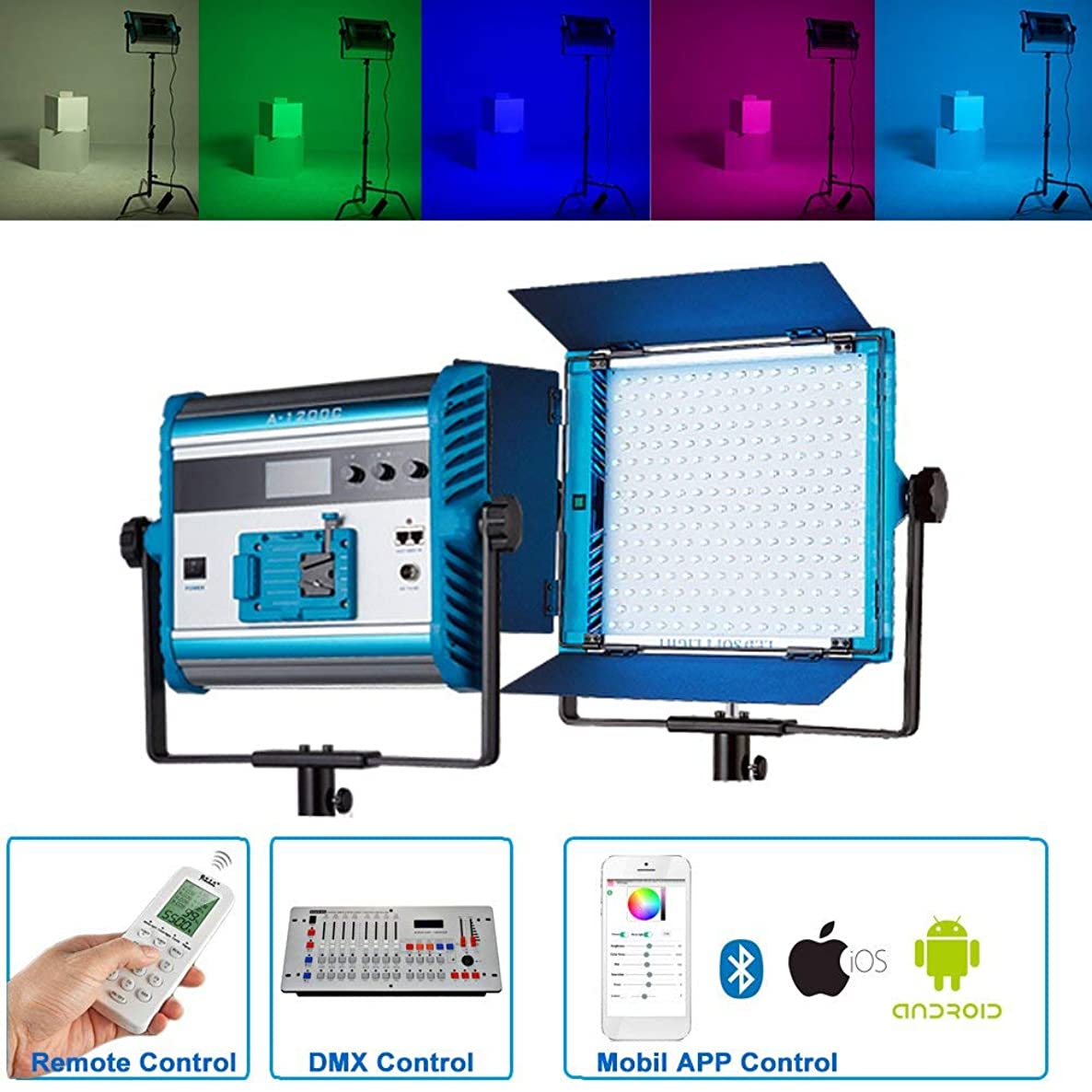 Yidoblo RGBW LED Soft Video Light Panel 2800K-10000K Dimmable by DMX/Phone App/Remote Controller with Barn Doors, 96W 95RA+ Continuous Lighting for Photo Studio Video Film