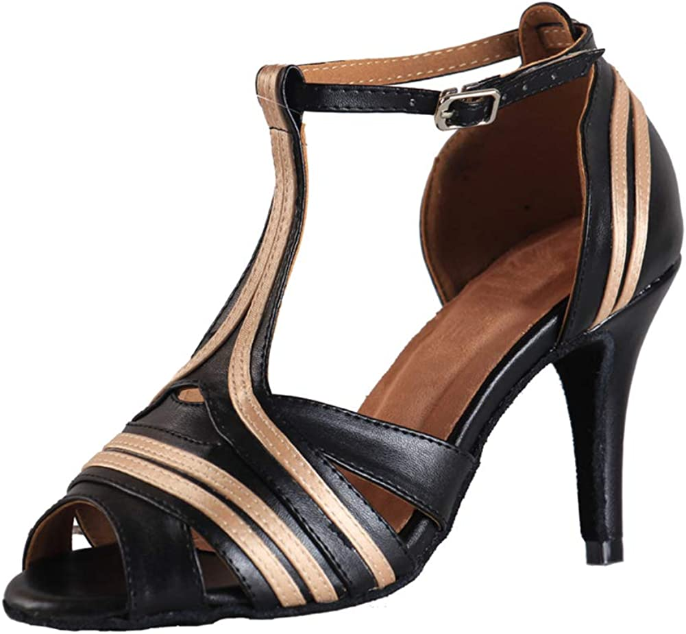 SWDZM Women's Standard Latin Dance Shoes Salsa Ballroom Wedding Performance T-Strap Shoes,Model-YCL020