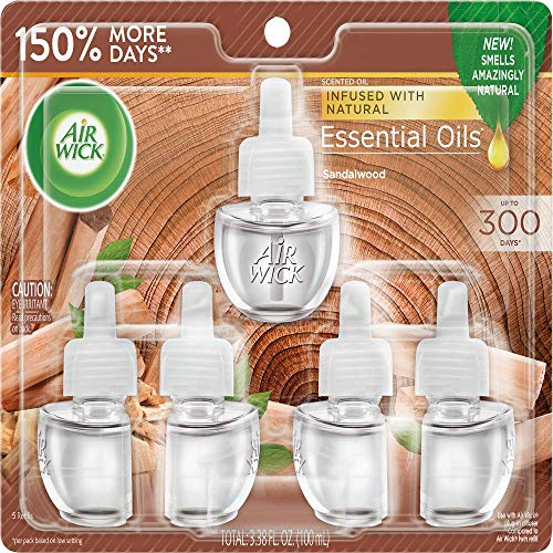 Air Wick Plug in Scented Oil, 5 Refills, Sandalwood, Fall scent, Essential Oils, Air Freshener, Packaging May Vary