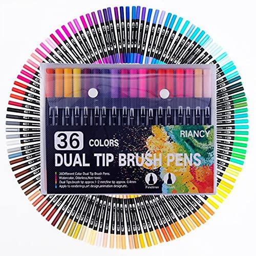Rotuladores de doble punta de color y marcadores de punta fina, herramientas de dibujo de colores con doble cabeza para volver a la escuela