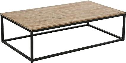 Tavolino Basso Da Salotto In Legno E Ferro Stile Vintage E Rustico Amazon It Casa E Cucina