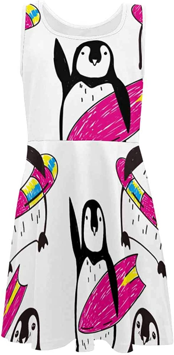 INTERESTPRINT Girls Sleeveless Dress Kids Party Casual Dresses Penguines and Sea Ice (2T-XL)