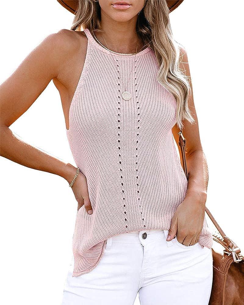 Tutorutor Womens High Neck Crochet Knit Sweater Vest Sexy Sleeveless Hollow Out Summer Fall Side Split Camis Tank Tops