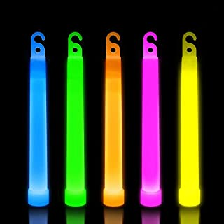 Lumistick 6 Inch Premium Glow Sticks | 15mm Thick Flat Bottom Illuminating Glowing Sticks | Waterproof & Non-Toxic Light Up Neon Sticks with Hook for Camping & Hiking (Assorted, 25 Glow Sticks)