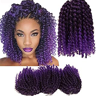 3pcs/Pack 10'' Afro Kinky Twist Hair Crochet Braids Ombre Purple Braiding Hair Synthetic Marlybob Curly Crochet Hair Pieces (T1B/PUR)
