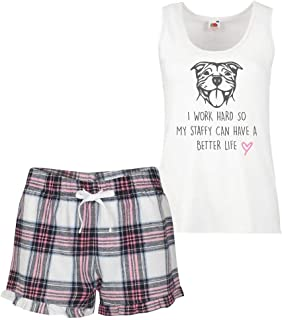 60 Second Makeover Limited Men's Staffy I Work Hard So My Staffy Can Have A Better Life Pyjama Set Pink Tartan Friend Present