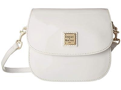 Dooney & Bourke Beacon Patent Saddle Crossbody (White/White Trim) Handbags