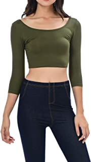 Womens Trendy Solid Color Basic Scooped Neck and Back Crop Top