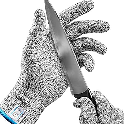 Stark Safe Cut Resistant Gloves Food Grade Level 5 Protection, Safety Cutting Gloves for Kitchen, Mandolin Slicing, Fish Fillet, Oyster Shucking, Meat Cutting and Wood Carving (Medium - 2 Pair)