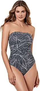 Women's Swimwear Lush Lanai Avanti Bandeau Underwire Tummy Control One Piece Swimsuit with Detachable Straps