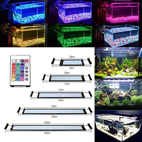 DOCEAN 6W Aquarium Beleuchtung LED Aquariumlicht Aquariumleuchten Aquariumlampen 36 * 5050SMD RGB 24 Tasten IR Fernbedienung und 10cm Halterungen Einstellbare Länge für Fisch Tank 28.5cm-48.5cm